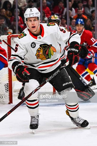 Look on Chicago Blackhawks defenceman Connor Murphy during the Chicago Blackhawks versus the Montreal Canadiens game on March 16 at Bell Centre in...