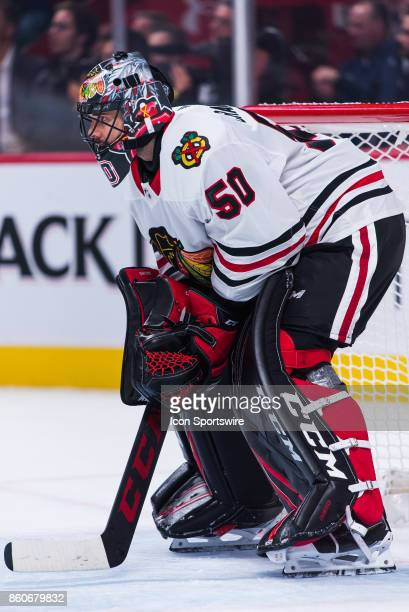 Look on Chicago Blackhawks Goalie Corey Crawford during the Chicago Blackhawks versus the Montreal Canadiens game on October 10 at Bell Centre in...