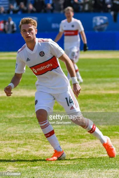 Look on Chicago Fire midfielder Djordje Mihailovic during the Chicago Fire versus the Montreal Impact game on April 28 at Stade Saputo in Montreal QC