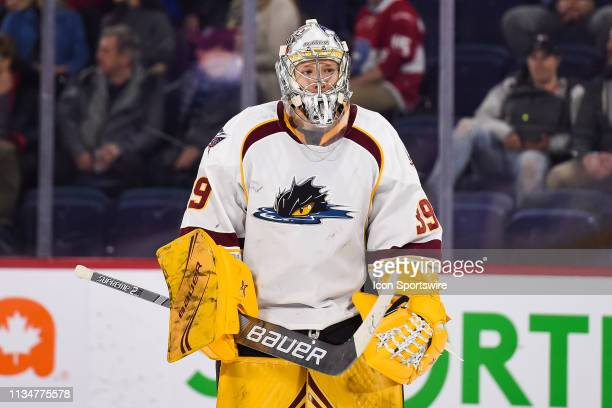 Look on Cleveland Monsters goalie Brad Thiessen during the Cleveland Monsters versus the Laval Rocket game on April 03 at Place Bell in Laval, QC