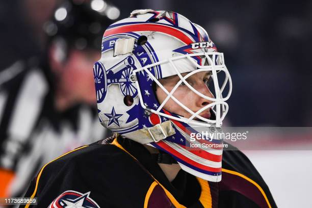 Look on Cleveland Monsters goalie Matiss Kivlenieks during the Cleveland Monsters versus the Laval Rocket game on October 04 at Place Bell in Laval QC