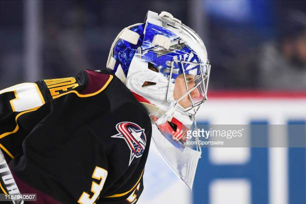 Look on Cleveland Monsters goalie Veini Vehvilainen during the Cleveland Monsters versus the Laval Rocket game on December 10 at Place Bell in Laval,...