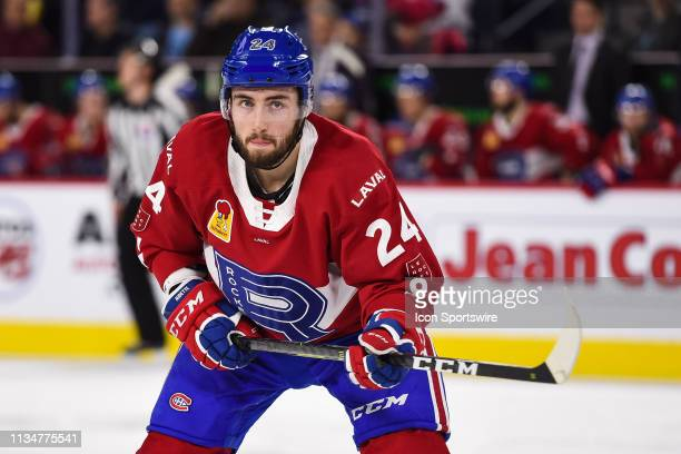 Look on Laval Rocket center Daniel Audette during the Cleveland Monsters versus the Laval Rocket game on April 03 at Place Bell in Laval, QC