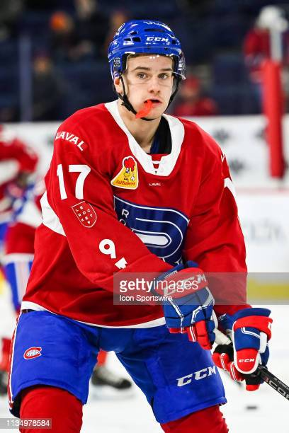 Look on Laval Rocket center Hayden Verbeek with his mouth piece out at warm-up before the Cleveland Monsters versus the Laval Rocket game on April 03...
