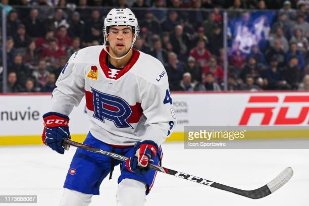 Look on Laval Rocket center Ryan Poehling during the Cleveland Monsters versus the Laval Rocket game on October 04 at Place Bell in Laval, QC