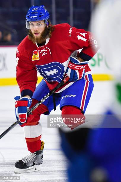 Look on Laval Rocket defenceman Brett Lernout during the Utica Comets versus the Laval Rocket game on January 10 at Place Bell in Laval QC