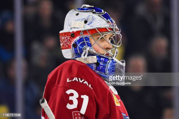 Look on Laval Rocket goalie Cayden Primeau during the Toronto Marlies versus the Laval Rocket game on December 28 at Place Bell in Laval QC