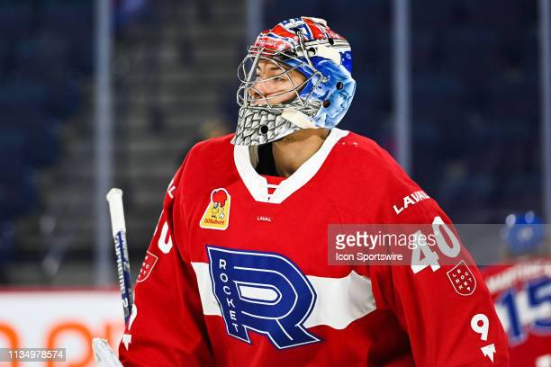 Look on Laval Rocket goalie Michael McNiven at warm-up before the Cleveland Monsters versus the Laval Rocket game on April 03 at Place Bell in Laval,...