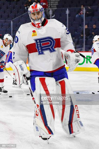 Look on Laval Rocket goalie Zach Fucale at warm up before the Syracuse Crunch versus the Laval Rocket game on December 20 at Place Bell in Laval QC