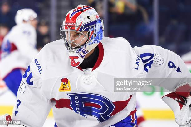 Look on Laval Rocket goalie Zach Fucale at warmup before the Providence Bruins versus the Laval Rocket game on March 07 at Place Bell in Montreal QC
