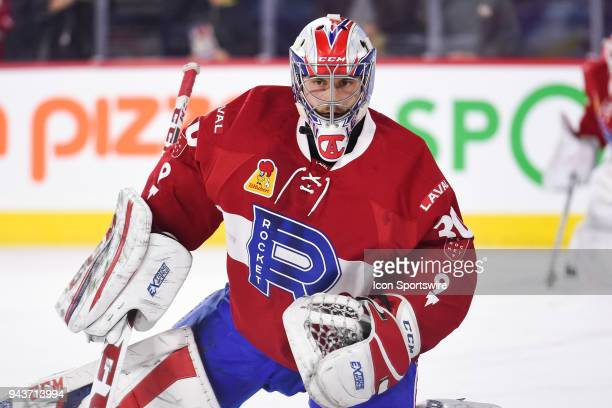 Look on Laval Rocket goalie Zach Fucale at warmup before the Springfield Thunderbirds versus the Laval Rocket game on April 6 at Place Bell in Laval...