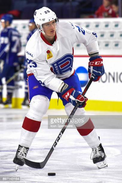 Look on Laval Rocket right wing Michael Mccarron at warm up before the Syracuse Crunch versus the Laval Rocket game on December 20 at Place Bell in...