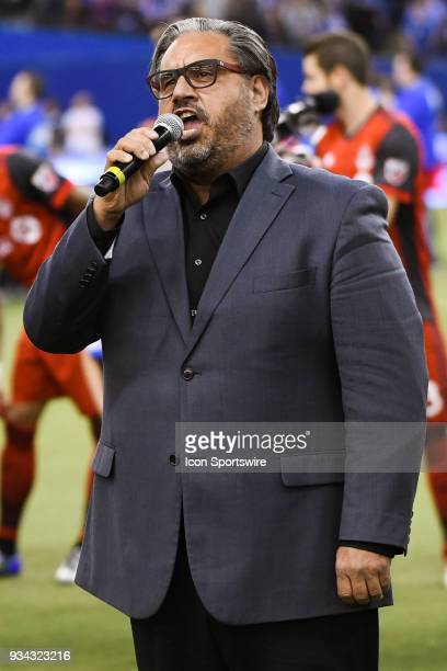 Look on Marc Hervieux national anthem signer during the Toronto FC versus the Montreal Impact game on March 17 at Olympic Stadium in Montreal QC