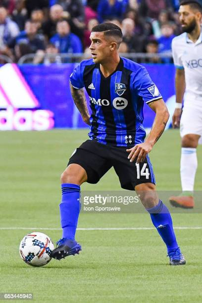 Look on Midfielder Adrian Arregui controlling the ball during the Seattle Sounders FC versus the Montreal Impact game on March 11 at Montreal Olympic...