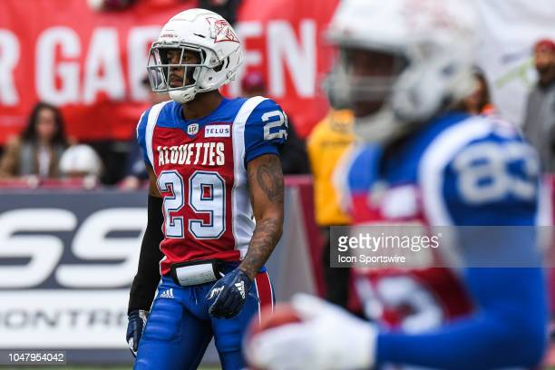 Look on Montreal Alouettes Defensive back Jermaine Robinson at warmup before the Calgary Stampeders versus the Montreal Alouettes game on October 8...