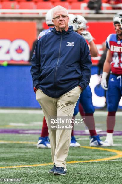 Look on Montreal Alouettes Head Coach Mike Sherman at warmup before the Calgary Stampeders versus the Montreal Alouettes game on October 8 at...