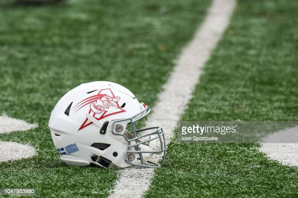 Look on Montreal Alouettes helmet at warmup before the Calgary Stampeders versus the Montreal Alouettes game on October 8 at Percival Molson Memorial...