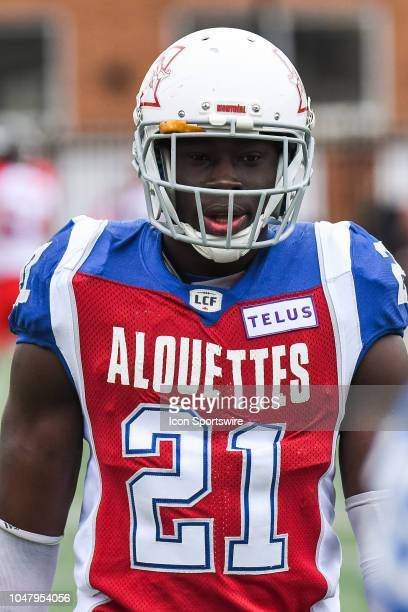 Look on Montreal Alouettes Line backer Chris Ackie at warmup before the Calgary Stampeders versus the Montreal Alouettes game on October 8 at...