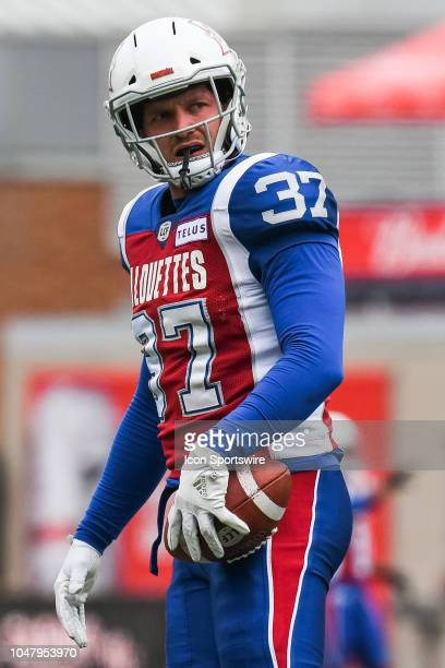Look on Montreal Alouettes Long snapper Martin Bedard at warmup before the Calgary Stampeders versus the Montreal Alouettes game on October 8 at...