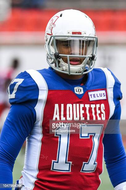 Look on Montreal Alouettes Quarterback Antonio Pipkin at warmup before the Calgary Stampeders versus the Montreal Alouettes game on October 8 at...