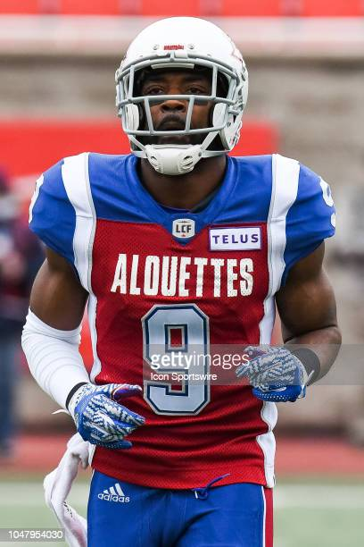 Look on Montreal Alouettes Wide receiver Ernest Jackson at warmup before the Calgary Stampeders versus the Montreal Alouettes game on October 8 at...