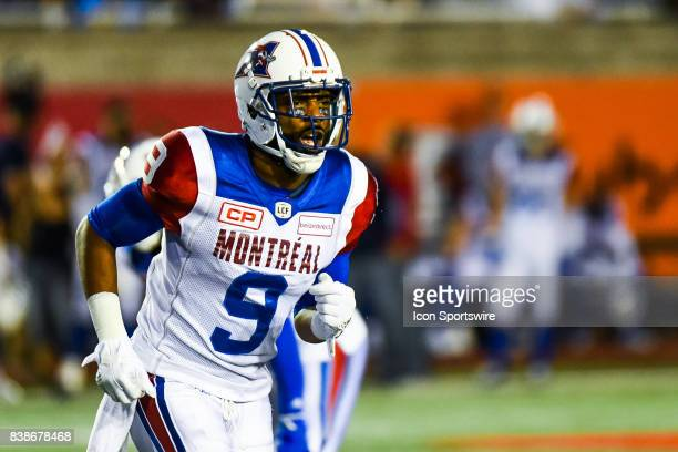 Look on Montreal Alouettes wide receiver Ernest Jackson screaming during the Winnipeg Blue Bombers versus the Montreal Alouettes game on August 24 at...