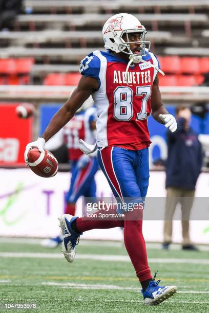 Look on Montreal Alouettes Wide receiver Eugene Lewis at warmup before the Calgary Stampeders versus the Montreal Alouettes game on October 8 at...