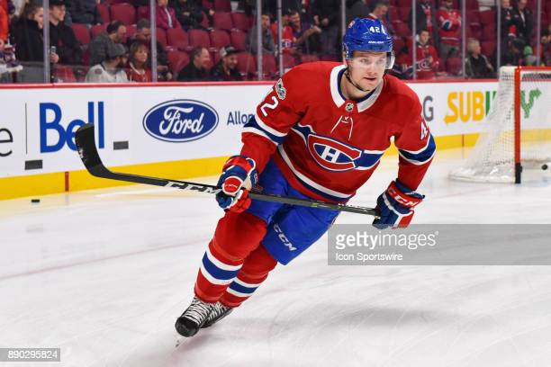 Look on Montreal Canadiens Center Byron Froese at warm up before the Calgary Flames versus the Montreal Canadiens game on December 7 at Bell Centre...