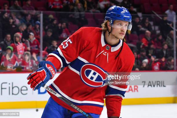Look on Montreal Canadiens Center Jacob De La Rose at warmup before the Boston Bruins versus the Montreal Canadiens game on January 13 at Bell Centre...