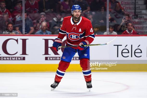Look on Montreal Canadiens center Nate Thompson during the New Jersey Devils versus the Montreal Canadiens preseason game on September 16 at Bell...