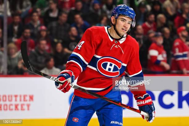 Look on Montreal Canadiens center Nick Suzuki during the Dallas Stars versus the Montreal Canadiens game on February 15 at Bell Centre in Montreal QC