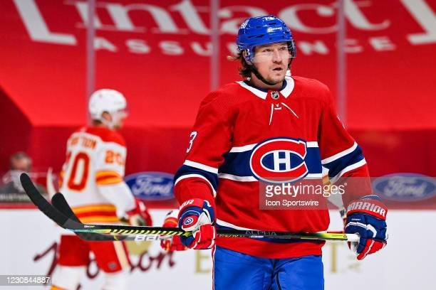 Look on Montreal Canadiens center Tyler Toffoli during the Calgary Flames versus the Montreal Canadiens game on January 28 at Bell Centre in...