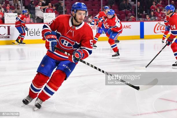 Look on Montreal Canadiens Defenceman Victor Mete at warmup before the Minnesota Wild versus the Montreal Canadiens game on November 9 at Bell Centre...