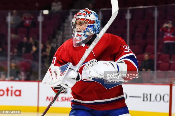 Look on Montreal Canadiens goalie Cayden Primeau at warmup before the Colorado Avalanche versus the Montreal Canadiens game on December 05 at Bell...