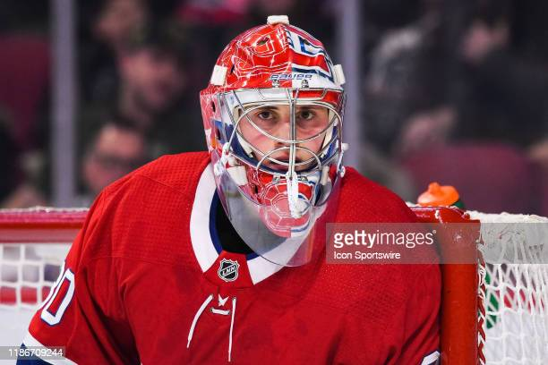 Look on Montreal Canadiens goalie Cayden Primeau during the Colorado Avalanche versus the Montreal Canadiens game on December 05 at Bell Centre in...