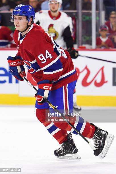 Look on Montreal Canadiens Prospect Centre Allan McShane during the Ottawa Senators versus the Montreal Canadiens Rookie Showdown game on September 7...