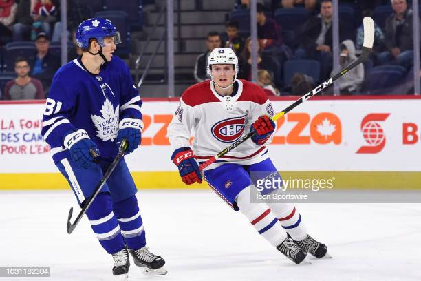 Look on Montreal Canadiens Prospect Centre Allan McShane during the Montreal Canadiens versus the Toronto Maple Leafs Rookie Showdown game on...