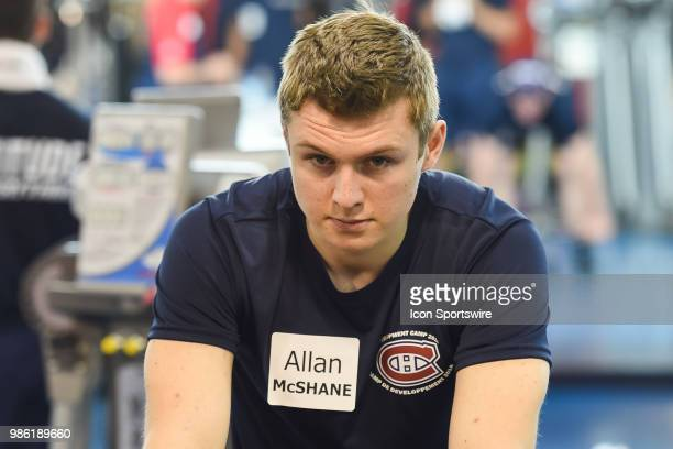 Look on Montreal Canadiens Prospect Centre Allan McShane during the Montreal Canadiens Development Camp on June 28 at Bell Sports Complex in Brossard...