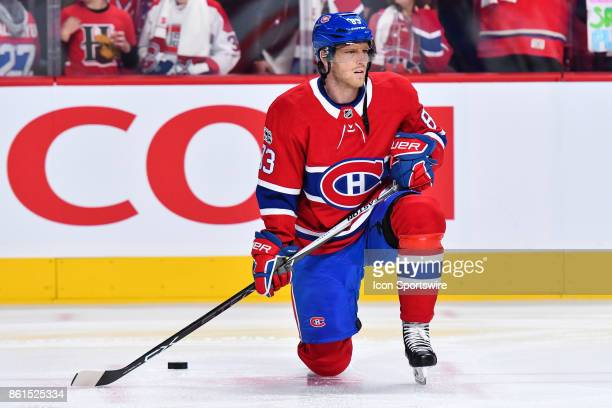 Look on Montreal Canadiens Right Wing Ales Hemsky during the Toronto Maple Leafs versus the Montreal Canadiens game on October 14 at Bell Centre in...
