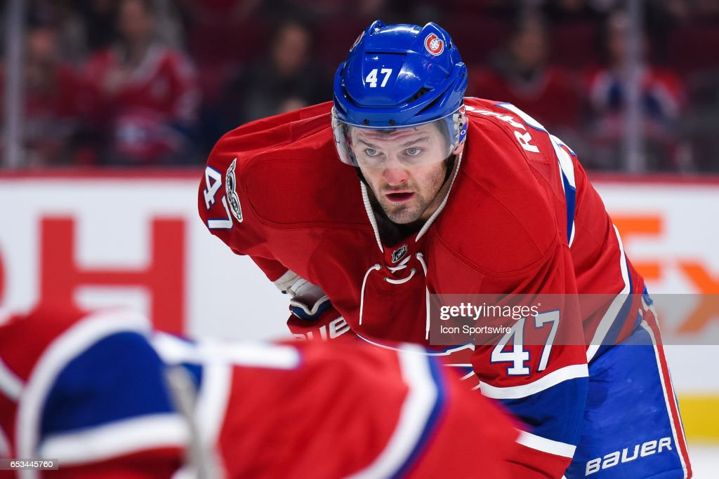 Look on Montreal Canadiens Right Wing Alexander Radulov (47) at faceoff during the Chicago Blackhawks versus the Montreal Canadiens game on March 14, 2017, at Bell Centre in Montreal, QC