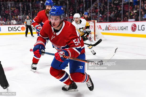 Look on Montreal Canadiens Winger Charles Hudon during the Pittsburgh Penguins versus the Montreal Canadiens game on March 15 at Bell Centre in...
