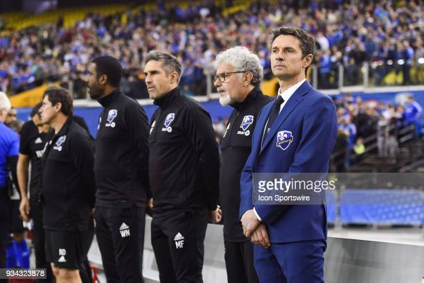 Look on Montreal Impact head coach Remi Garde and his coaching staff during the Toronto FC versus the Montreal Impact game on March 17 at Olympic...