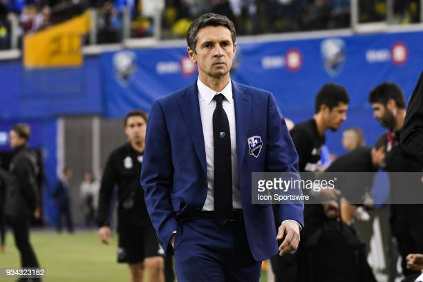 Look on Montreal Impact head coach Remi Garde during the Toronto FC versus the Montreal Impact game on March 17 at Olympic Stadium in Montreal QC