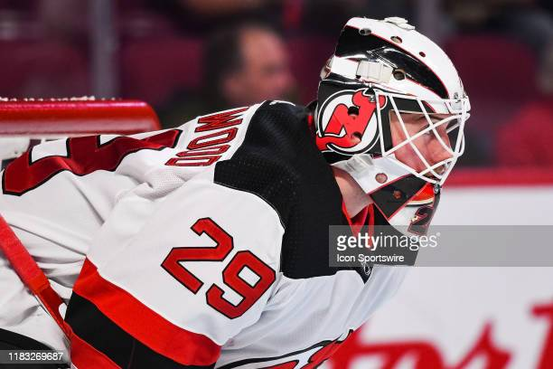 Look on New Jersey Devils goalie Mackenzie Blackwood during the New Jersey Devils versus the Montreal Canadiens game on November 16 at Bell Centre in...