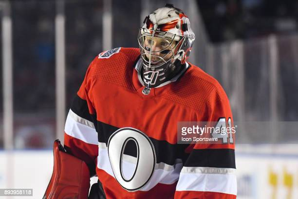 Look on Ottawa Senators Goalie Craig Anderson during the Montreal Canadiens versus the Ottawa Senators NHL100 Classic game on December 16 at TD Place...