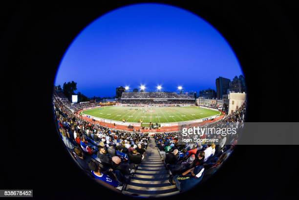 Look on PercivalMolson Memorial Stadium in fisheye during the Winnipeg Blue Bombers versus the Montreal Alouettes game on August 24 at Percival...