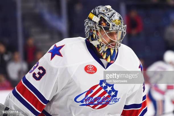 Look on Rochester Americans goalie Jason Kasdorf at warmup before the Rochester Americans versus the Laval Rocket game on April 4 at Place Bell in...