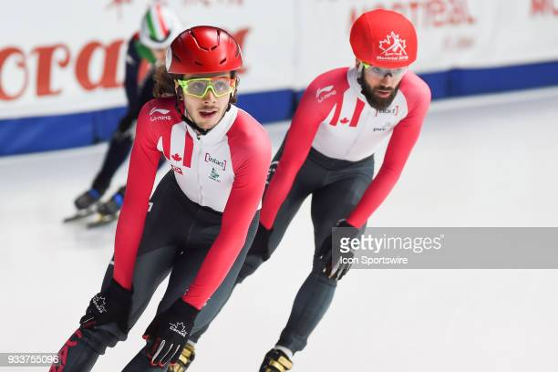 Look on Samuel Girard and Charles Hamelin after the 1000m Quarterfinals at ISU World Short Track Speed Skating Championships on March 18 at...