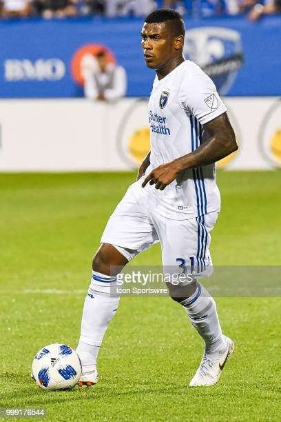 Look on San Jose Earthquakes defender Harold Cummings in control of the ball during the San Jose Earthquakes versus the Montreal Impact game on July...