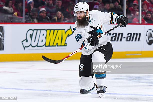 Look on San Jose Sharks Defenceman Brent Burns seconds after taking a shot on Montreal Canadiens Goalie Al Montoya during the San Jose Sharks versus...
